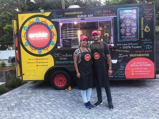 Monish and Sushma Mansharamani are the husband-and-wife team behind the new Arekie food truck. The truck blends Sushma's Spanish heritage with Monish's Indian roots.