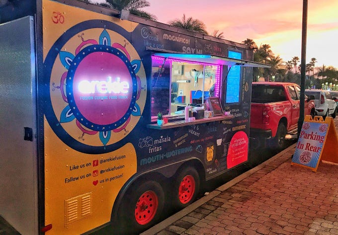Arekie Fusion Cuisine food truck serves a meld of Spanish, Latin and Indian flavors. The truck can be found from Naples to Cape Coral to Fort Myers.