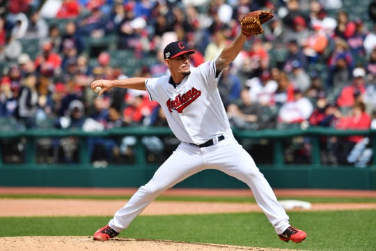 Apr 24, 2019; Cleveland, OH, USA; Cleveland Indians relief pitcher Nick Wittgren (62) throws a pitch during the eighth inning against the Miami Marlins at Progressive Field. Mandatory Credit: Ken Blaze-USA TODAY Sports