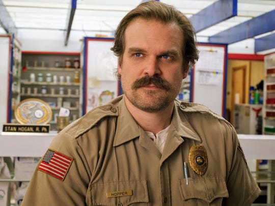 "David Harbour portrays Jim Hopper on ""Stranger Things."""