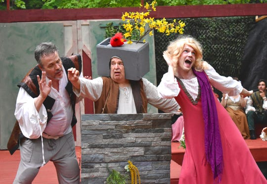 """Bottom (Ross Haarstad), Snout (Peter Shuman) and Flute (Eric Hambury) appear in a scene from the Ithaca Shakespeare Company's production of """"A Midsummer Night's Dream."""""""