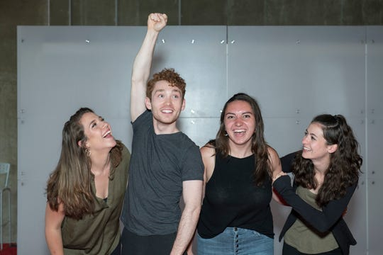 """From left, Diana Truman (Albert's Mother), Jacob Entenman (Jack), Lauren Grajewski (Jack's Mother) and Jess Murphy (Jack's Father) rehearse a scene from """"Jack and the Beanstalk."""""""