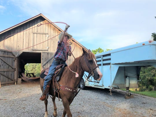 """On average Jake McMurray rides on the weekends and during the summer twice a week, riding around his family's property or down his neighborhood road. Pictured here on horse, """"Ricky Bobby"""" in Corryton on July 2, 2019."""