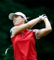 Karine Icher watches her shot during the final round of the Thornberry Creek LPGA Classic.