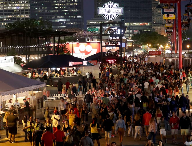People attending the last night of Summerfest in Milwaukee on Sunday, July 7, 2019.