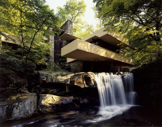 Fallingwater in Pennsylvania is one of a group of Frank Lloyd Wright buildings placed on the UNESCO World Heritage List.