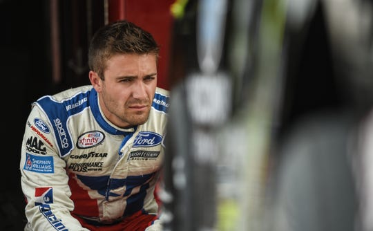Ty Majeski waits for the chance to get on track Monday at Slinger Speedway during practice for Tuesday's Slinger Nationals. He is the defending race winner.