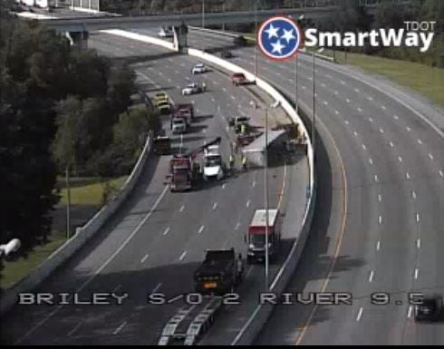 Tractor trailer overturned on Briley Parkway sough of Two Rivers Parkway, Thursday, July 8, 2019