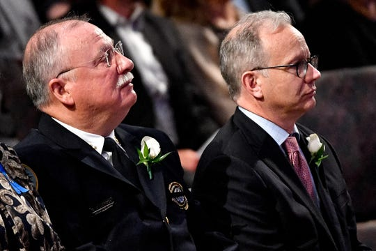 "The Community Oversight Board wants Nashville Police Chief Steve Anderson, left, and Mayor David Briley to attend an ""emergency"" public meeting September 18."