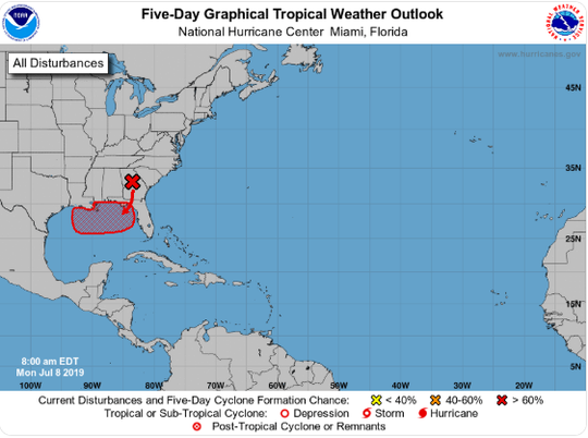 A tropical storm will be developing over the northern and eastern Gulf Coast later this week, according to the National Hurricane Center.