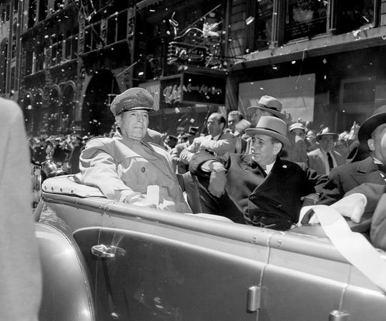 "General Douglas MacArthur, shown here in a 1951 ticker tape parade in New York City, once said, ""I hold no branch in higher esteem than the Merchant Marine Services."""