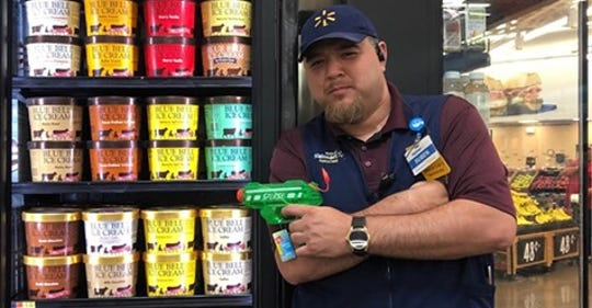 "A Walmart employee takes watch guarding against ""Ice Cream Bandits."""