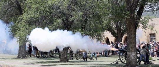 Cannons are fired throughout the day at the fort historic site.