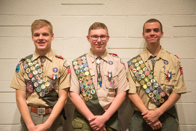 Cameron Kruse, left, Toney Saylor, center and Mitchell Heath, right, all recently earned the Eagle Scout award.