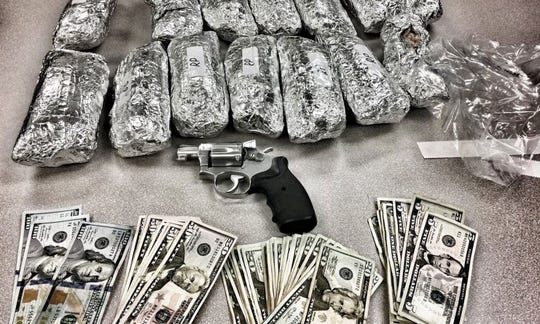 Los Angeles police seized the burrito-shaped packages of methamphetamine. Also seized was a handgun and cash.