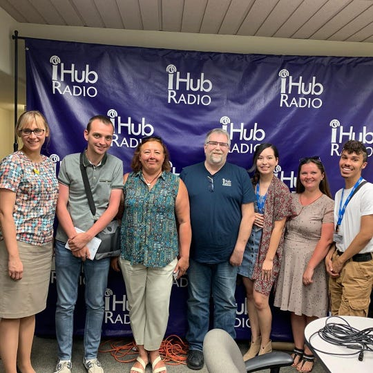 iHub CEO John McMullen with Ukrainian Journalists and interns, Alex Rosales and Shane Tate.