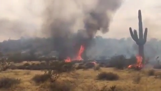 Winds continued to push the Smokehouse Fire near Wittman. The fire was at 500 acres in the evening of July 7, 2019.