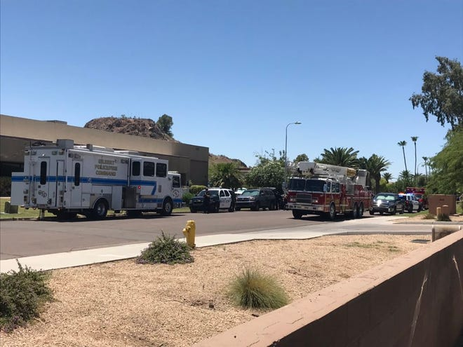 Scene of barricade in Tempe causing road closures near Priest Drive and Broadway road