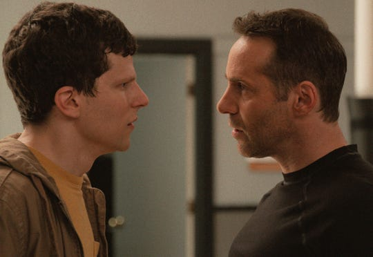"Casey (Jesse Eisenberg, left) learns from Sensei (Alessandro Nivola) in ""The Art of Self-Defense."""
