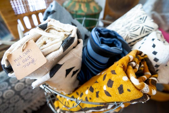 Mud cloths are for sale at Piece & Story, a vintage and treasure store, in Scottsdale.