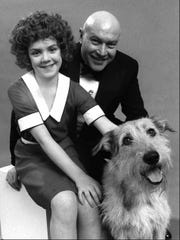 Broadway's original Annie and Daddy Warbucks, Andrea McArdle and Reid Shelton, are seen on Feb. 24, 1977.