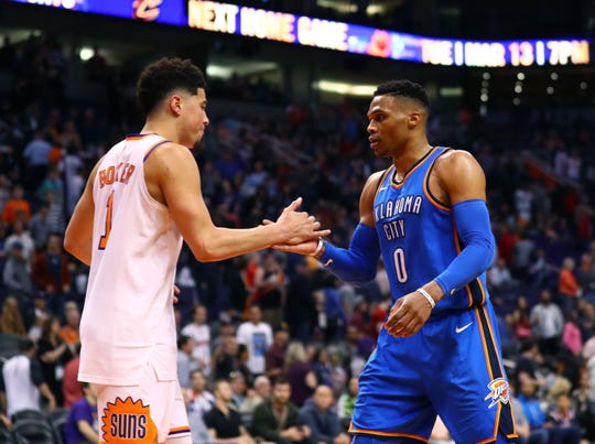 How would Oklahoma City Thunder guard Russell Westbrook and Phoenix Suns guard Devin Booker fare as teammates?