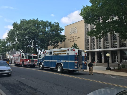 The Lebanon County and City Municipal Building was evacuated Monday afternoon after police used pepper spray on a person inside.