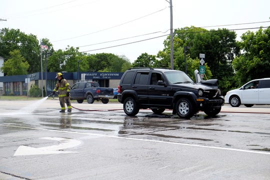 A vehicle fire closed a portion of Pine Grove Avenue Monday afternoon.