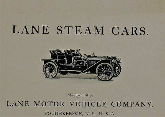 Starting in 1902, the Lane Motor Vehicle Company manufactured steam powered automobiles from its factory at the corner of Prospect and Pine streets in the City of Poughkeepsie. Here, a promotional ad touts its various automobile models.