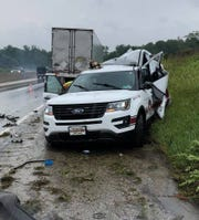 A York Area United Fire and Rescue vehicle was struck on Interstate 83 on Monday morning while firefighters were responding to a previous crash.