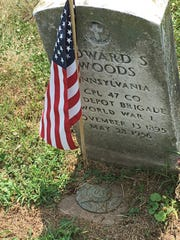 Grave stone of Edward S. Woods, who served in World War I. His gravesite is one of more than 270 veterans' graves from the Civil War through the Vietnam War at Lebanon Cemetery.