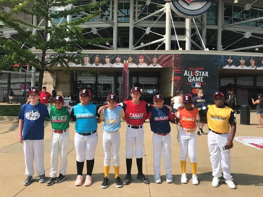Daniel Hilfiker, third from the right, is one of eight Little League players in the world chosen to participate in Major League Baseball's Home Run Derby tonight in Cleveland.