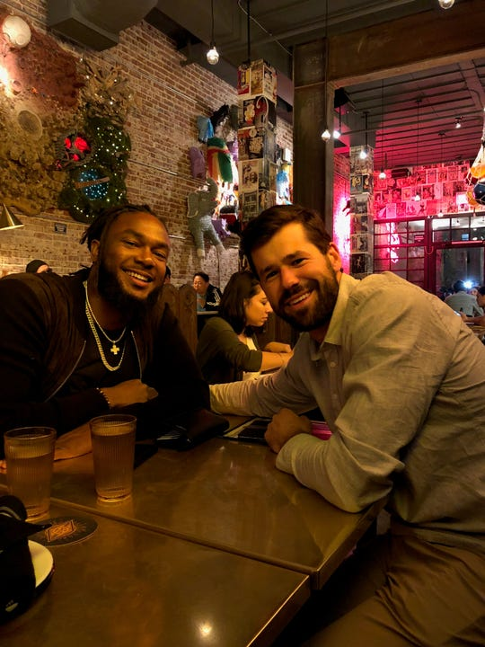 Pittsburgh Pirates first baseman Josh Bell, left, will have Hilton native Jon Schwind pitching to him in Major League Baseball's Home Run Derby tonight in Cleveland.