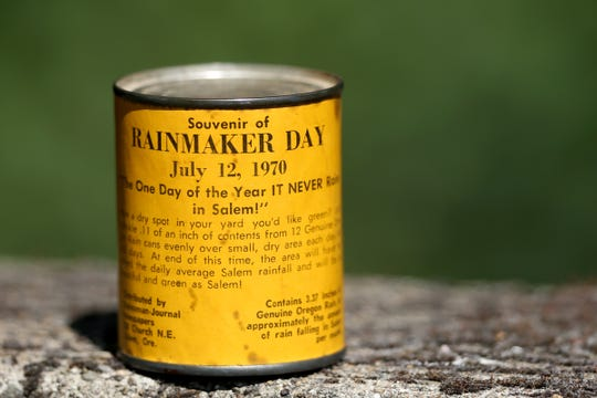 "A can of ""Genuine Oregon Rain"", a souvenir of Rainmaker Day, July 12, 1970. Photographed at the Statesman Journal in Salem on July 8, 2019."