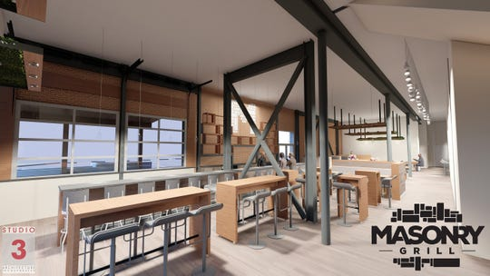 A rendering of the interior of the new Masonry Grill which will occupy the space that was the former Spaghetti Warehouse.