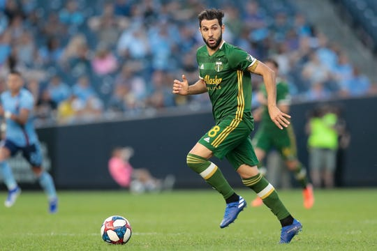Jul 7, 2019; New York, NY, USA; Portland Timbers midfielder Diego Valeri (8) controls the ball during the second half New York City FC at Yankee Stadium.