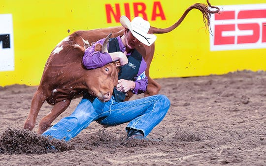 Southwest Texas Junior College's Tyler West, a freshman from Mertzon, finished second in the nation in steer wrestling in his debut at the College National Finals Rodeo in June 2019.