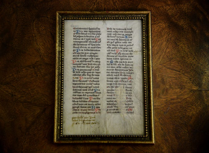 A page of a prayer book from Noel's rare book collection.