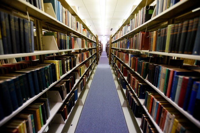 Books in the Noel Memorial Library's rare book collection.