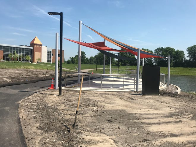New performance patio at Lake Francis Park on July 8, 2019. The city is working on landscaping before opening up the area for large performances and events.