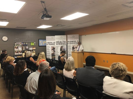 Minnesota State Chancellor Devinder Malhotra address a crowd at St. Cloud Technical and Community College on Monday, July 8, 2019.