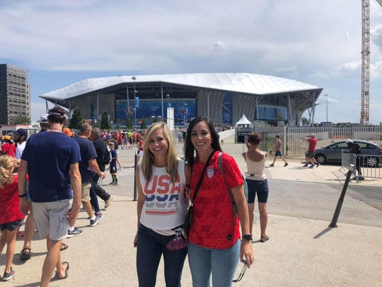 Billie Anne Gay, right, and Corinne Mixon at Groupama Stadium in France for Sunday's World Cup final.