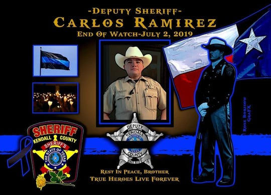 "Kendall County Sheriff's Office Deputy Carlos ""Smiley"" Ramirez was killed July 2 after being struck by a vehicle while conducting a traffic stop on Interstate 10 near Boerne."