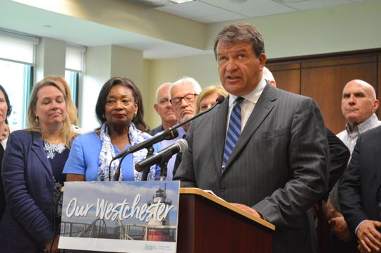 Westchester County Executive George Latimer pledged to freeze property taxes in 2020 at Greenburgh Town Hall on July 8, 2019.