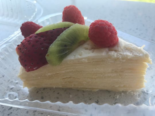A slice of crepe layer at Qualitea in Newark.