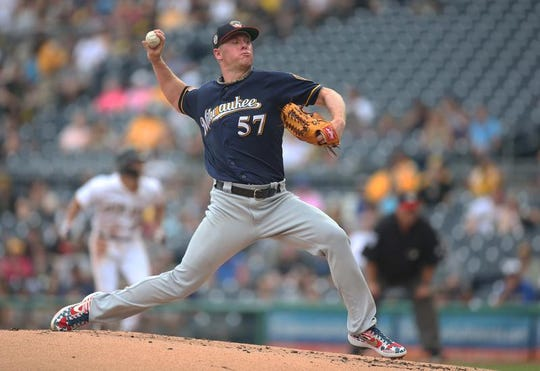 Chase Anderson has made 12 starts for the Brewers this season, his fourth in Milwaukee.