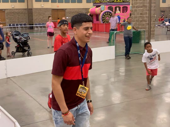 Falls Town Flyer midfielder (and former Rider High School player) Alex Ramirez interacting with younger soccer players at the annual 4th of July celebrations in the Ray Clymer Exhibit Hall last week. The team will play its last hometown game verses the West Texas Rumbleweeds at 6 p.m. Saturday at the Kay Yeager Coliseum.
