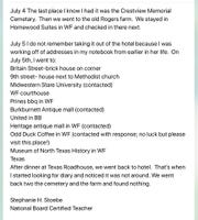 Stephanie Stoebe provided this list on Facebook of her and husband Walter's whereabouts for when the diary was lost.
