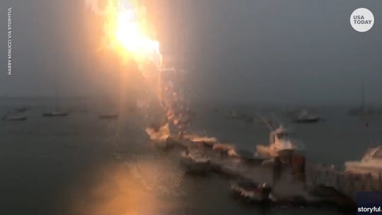 Viral video shows boat in Boston being struck by lightning