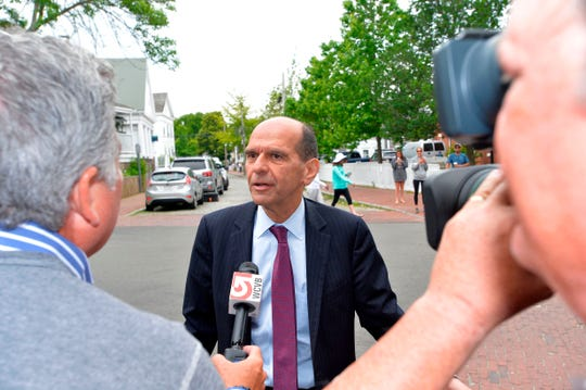 Mitchell Garabedian, the Boston lawyer for the family of Kevin Spacey's accuser, arrives at a pretrial hearing in Spacey's sexual assault case at Nantucket District Court in Nantucket, Mass. on July 8, 2019.